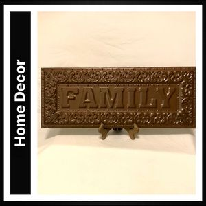 """FAMILY"" Metal and Wood Wall Art"